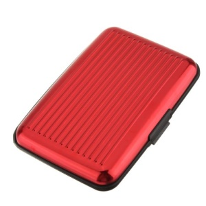 Aluminum Credit Card Name Card Holder Case - Red