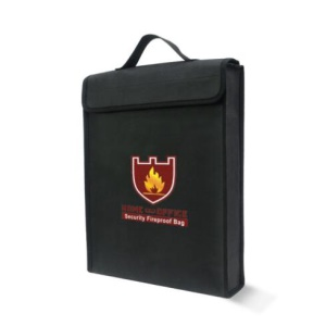 Fireproof Document Bag Double-Sided Black Waterproof File Safe Storage Bag 38x30.5x6.5cm