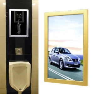 A4 Style Elevator Lobby Plastic Advertising Frame Business Signs Poster Display, Size: 331 x 219 x 130mm - Gold