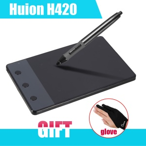HUION H420 USB Graphics Drawing Signature Tablet Board Kit with 3 Express Keys (4 x 2.23 inch Screen) - Black