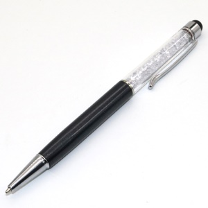 2-in-1 Diamond Capacitive Screen Stylus Touch Pen + Ballpoint Pen for iPhone iPad Samsung etc. - Black