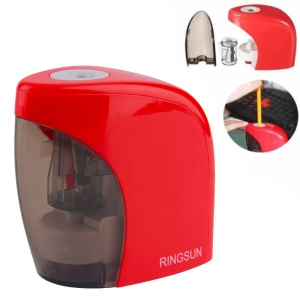Battery/USB Cable Powered Heavy Duty Electric Pencil Sharpener - Red