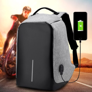 Multifunctional Canvas Business Laptop Backpack Travel Bag with USB Charging Function - Grey