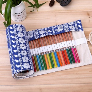 Chinese Folk-custom Pattern Canvas Pencil Curtains Pencil Case 56 x 20 cm (48 holes ) - Elephants Pattern