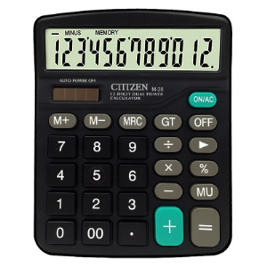 M28 Solar and Battery Dual Power Supply Desktop Calculator - Black
