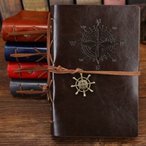 SENNUO 7 Inch Creative Retro Pirate Ship Sailing Bandage Kraft Notebook with PU Leather Cover - Coffee