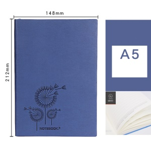 Premium Soft Patterned PU Leather Cover Thick A5 Size Notebook - Blue