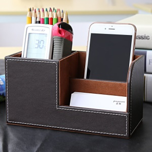 Business Style PU Leather Pen Container Visiting Card Holder Storage Box - Coffee