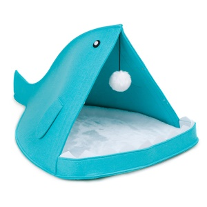 Creation Core Unique Shark-shaped Felt Cat Bed Nest with Mat and Fur Ball - Blue