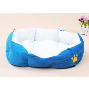 Soft Warm Pet Dog Cat Puppy Sofa House Bed with Cushion (50x40x17cm) - Blue