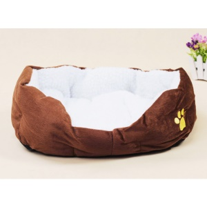 Soft Warm Pet Dog Cat Puppy Sofa House Bed with Cushion (50x40x17cm) - Coffee