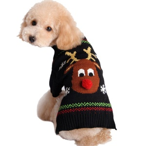 Costume Cute Sweater Deer Puppy Clothes Winter New Year Noël pour chien et chat - L