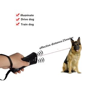 Ultrasonic Dog Chaser Stop Aggressive Animal Attacks Repeller with Flashlight - Black
