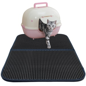 Double-Layer Honeycomb Cat Litter Trapper Mat Non-toxic EVA Mat with Waterproof Bottom Layer - Black