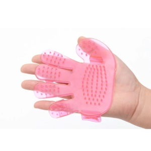 Palm Pattern Five Fingers Brush Pet Hairdressing Bath Massage Brush for Dogs, Cats - Pink