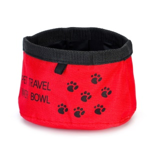 Pet Collapsible Travel Outdoor Oxford Tissu Eau Bowl - S / Rouge