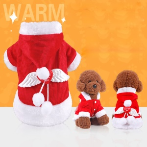 Angel Wing Pet Costume Christmas Pet Clothes Winter Hoodie for Dog Pet - M
