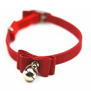 Cute Adjustable Puppy Cat Pet Collar with Bowknot and Bell - Red