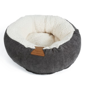 Round Cat Bed Winter Pet Donut Fleece Pet Cushion House - Grey