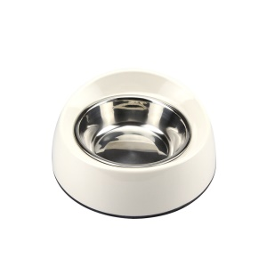 Slant Opening 2 in 1 Melamine Pet Dog Bowl with Stainless Steel Bowl Insert - Size: M / White