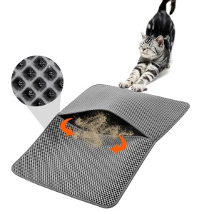 Foldable PVA Dual-Layer Cat Litter Trapper Mat with PU Leather Bottom - Grey / Size L