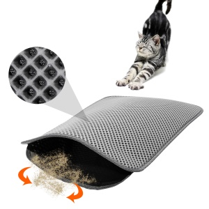 Foldable PVA Dual-Layer Cat Litter Mat Sifting Pad with PU Leather Bottom - Grey / Size M