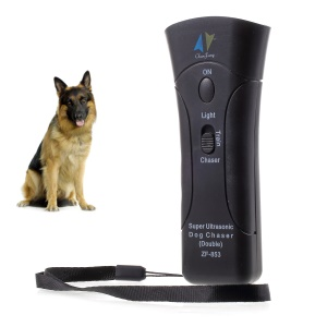 Ultrasonic Dog Chaser Stop Trainers with LED Flashlight + 9V 800mAh Battery