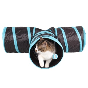 3 Channels Folding Pet Dog Toy Tunnel Roll Puppy Cat Sleeping Tents Bed with Bell Ball