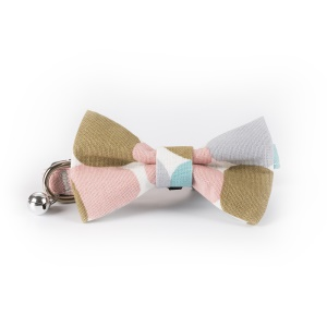 Colorized Dot Pattern Adjustable Dog Cat Bow Tie Collar with a Bell - Light Pink