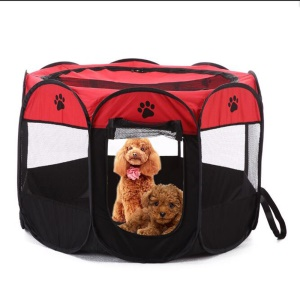8-side Foldable 600D Pet House Tent Dog Cat Tent Puppy Tent Kennel, Size: 90 x 90 x 58cm - Red
