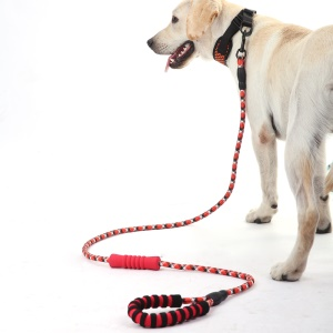 Reflective Nylon Dog Pet Round Traction Rope with Dual Padded Handle - Red