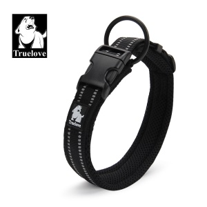 TRUELOVE Mesh Padded Nylon Pet Dog Collar with 3M Reflective Stripe - XS Size / Black
