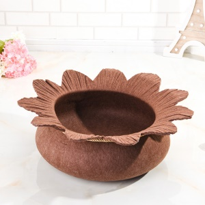 Four Seasons Cozy Felt Pet Nest Kennel Dog Cat Bed Water Lily Shape Breathable Washable - Coffee