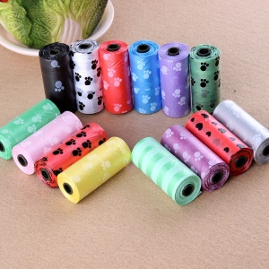 4 Rolls/Set Pet Dog Printing Waste Bags Poop Trash Bag (1 Roll = 15Pcs, Random Color)