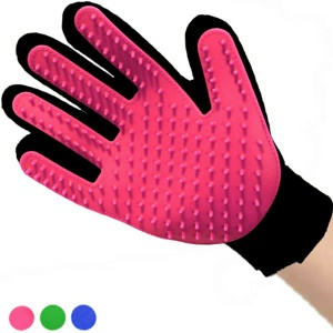1 Pair Pet Grooming Brush Gloves Massage Tool for Dogs, Cats, Horses, Rabbits etc - Rose