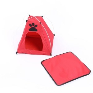 Oxford Cloth Portable Folding Footprint Pet House Tent for Small Cats and Dogs - Red