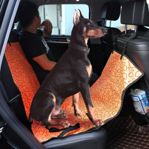 Waterproof Car Back Seat Cover with Extra Side Flaps for Pets - Orange / Clouds