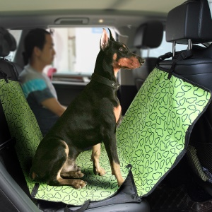 Pet Seat Cover with Extra Side Flaps for Cars, Waterproof & Hammock Convertible - Green / Clouds