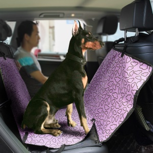 Pet Seat Cover with Extra Side Flaps for Cars, Waterproof and Scratch Proof - Purple / Clouds