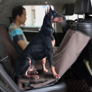 Waterproof and Scratch Proof Pet Seat Cover with Extra Side Flaps for Cars - Coffee