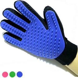 1PC Right Hand Pet Massage Gloves Grooming Brush Tool for Dogs Cats Horses Rabbits etc - Blue
