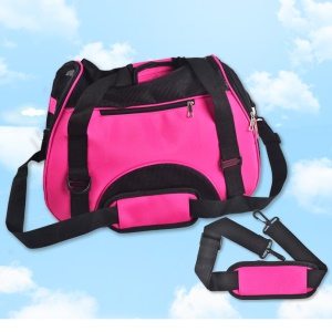 Portable Outdoors Travel Meshy Window Zipper Closure Pet Carrier Dog Case - Rose