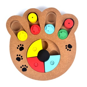 Wooden Multi-Functional Dog Food Bowl Educational Clamp Slot Training Toy - Paws