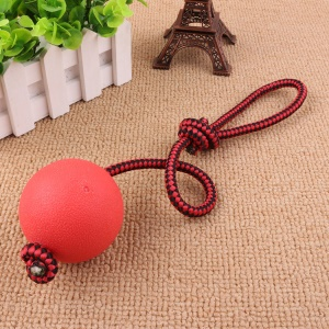Pet Chewing Training Solid Rubber Ball Puppy Ball Toy with Rope, Diameter: 5.5CM