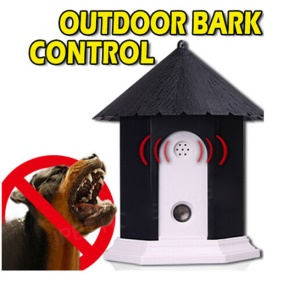 Ultrasonic Outdoor Bark Control Dog Trainer Birdhouse Shape - Black