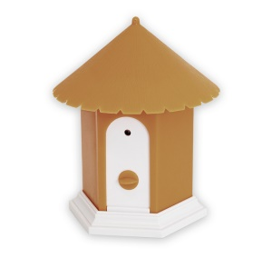 Birdhouse Shape Outdoor Ultrasonic Bark Control Dog Trainer - Brown