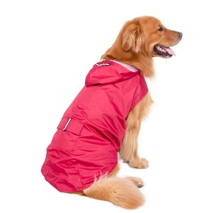 Super Waterproof Hooded Dog Raincoat Pet Clothes - Red / Size: 5XL
