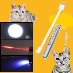 3 in 1 USB Rechargeable White Red UV LED Torch Interactive Pet Toy