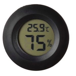 Mini Round Digital Temperature Humidity Meter Gauge Thermometer Pet Thermometer - Black