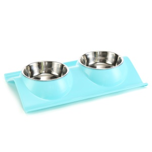 Stainless Steel Double Feeder Bowl Pet Dog Cat Food Water Feeding Bowl - Blue